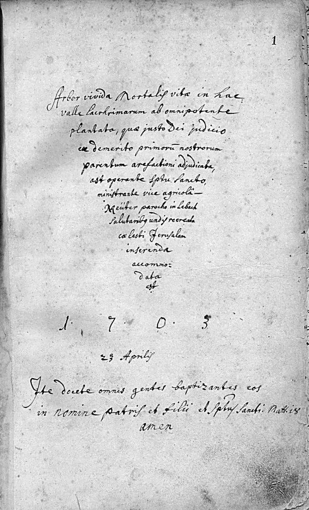 Erste Seite des Lebacher Kirchenbuches vom 23.04.1703